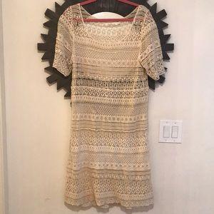 Nordstrom cream lace midi dress